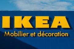 Retail of The Ikea logo on store facade. IKEA is the world`s largest furniture retailer and sells ready to assemble furniture stock images