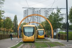 Tramway station in Zup quarter, the terminus of the line number two Stock Photos