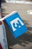 MULHOUSE - FRANKRIKE - för Juli 2014 för th 13 television för fransman - Tour De France - flagga Arkivbilder