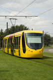 Mulhouse tramway. Yellow tramway in Mulhouse, France. Front view Royalty Free Stock Photo
