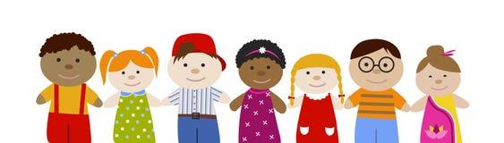 Muli-φυλετικά παιδιά καθορισμένα Στοκ εικόνες με δικαίωμα ελεύθερης χρήσης