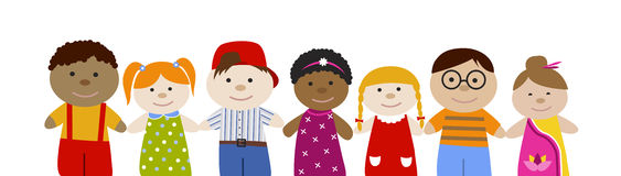 Muli-racial children set. Cute cartoon children set. Multiracial girls and boys. Flat  illustration. Happy funny kids Royalty Free Stock Images