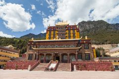 Muli Temple full view in clear sky in Sichuan from China royalty free stock photo