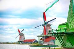Mulini eoli di Zaandam, Paesi Bassi fotografia stock libera da diritti