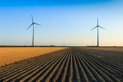 Mulini a vento ai campi dell'agricoltore Immagine Stock