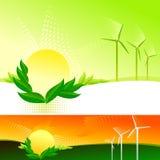 Mulini a vento astratti e bio- Sun - vettore Fotografia Stock