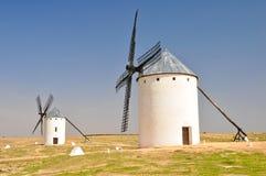 Mulini a vento in Campo de Criptana (Spagna) Immagini Stock Libere da Diritti