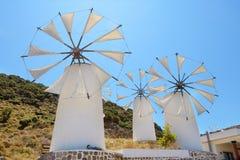 Mulini a vento. Creta, Grecia Fotografia Stock Libera da Diritti