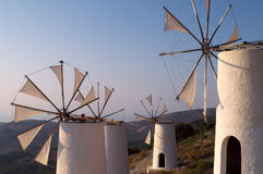 Mulini a vento del Greco di tradizione Fotografie Stock Libere da Diritti