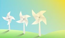 Mulini a vento di carta di vettore su paesaggio soleggiato Immagine Stock Libera da Diritti