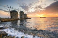 Mulini a vento di Chios fotografia stock libera da diritti