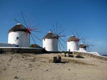 Mulini a vento di Mykonos Immagine Stock Libera da Diritti