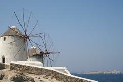 Mulini a vento di Mykonos Fotografia Stock