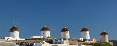 Mulini a vento di Mykonos panoramici Fotografia Stock