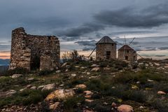 Mulini a vento di Serra da Atalhada, Penacova, Portogallo Immagine Stock Libera da Diritti