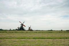 Mulini a vento ed il campo a Zaanse Schans, Olanda Immagine Stock Libera da Diritti