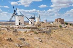 Mulini a vento famosi provincia di Consuegra, Toledo, Spagna fotografia stock