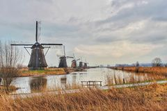 Mulini a vento in Kinderdijk nei Paesi Bassi Fotografia Stock