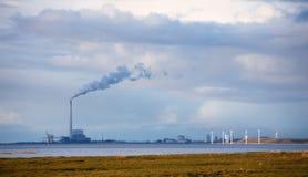 Mulini a vento nella palude danese Immagini Stock