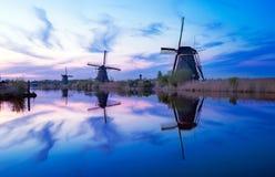 Mulini a vento olandesi a Kinderdijk, Paesi Bassi Fotografia Stock