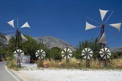 Mulini a vento sul plateau di Lasithi, Creta Fotografia Stock Libera da Diritti