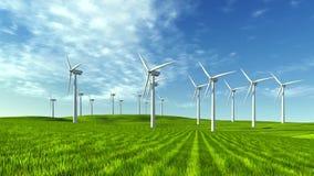 Mulini a vento sull'colline verdi al giorno soleggiato archivi video
