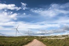 Mulini a vento sulla sierra Carape, Uruguay Immagini Stock
