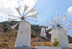 Mulini a vento tradizionali a Crete, Grecia Fotografia Stock