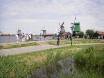 Mulini a vento, Zaanse Schans, Paesi Bassi Immagini Stock Libere da Diritti