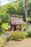 Mulino a acqua con il tetto ricoperto di paglia nel villaggio di stile di gassho di Ogimachi, J Immagini Stock Libere da Diritti