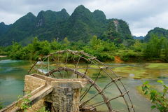 Mulino a acqua tradizionale Cao Bang, Vietnam Fotografia Stock Libera da Diritti