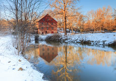 Mulino di funzionamento di Colvin nell'inverno, Great Falls la Virginia Fotografia Stock