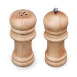 Mulino di pepe di legno ed agitatore di sale isolato rappresentazione 3d illustrazione di stock