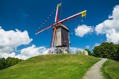 Mulino di Sint-Janshuis, Bruges Immagini Stock