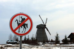 Mulino di vento in Bielorussia Immagine Stock Libera da Diritti