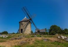 Mulino di vento, Bretagna, Francia Fotografia Stock Libera da Diritti