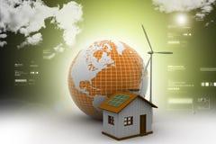 Mulino e centrale elettrico di vento con il globo Immagine Stock