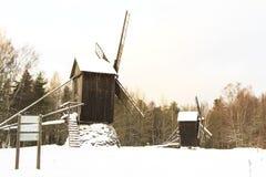 Mulino nella neve Fotografia Stock