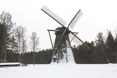 Mulino nella neve Fotografia Stock Libera da Diritti