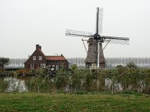 Mulino olandese tradizionale nel paesaggio verde fotografie stock libere da diritti