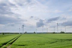 Mulino su un campo verde fotografie stock