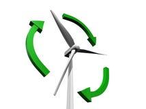 mulino a vento 3d con le frecce verdi Fotografia Stock Libera da Diritti