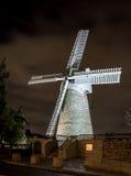 Mulino a vento alla notte, Gerusalemme di Montefiore Fotografia Stock
