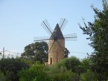Mulino a vento antico a Sineu, Mallorca Fotografia Stock