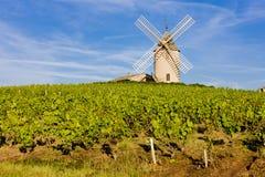 Mulino a vento in Borgogna fotografia stock libera da diritti