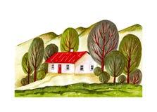Mulino a vento, case del villaggio e terreno coltivabile Immagini Stock