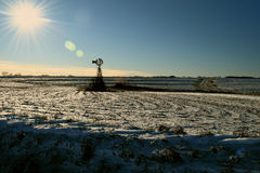 Mulino a vento congelato Fotografia Stock