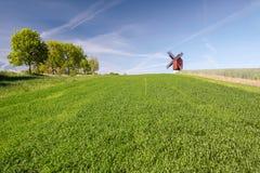 Mulino a vento del mulino di Traebene con i campi verdi Fotografia Stock