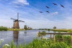 Mulino a vento del patrimonio mondiale dell'Unesco Fotografia Stock Libera da Diritti