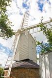 Mulino a vento di legno bianco Immagini Stock Libere da Diritti